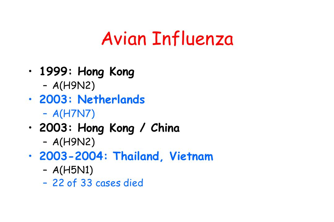 Avian Influenza 1999: Hong Kong 2003: Netherlands