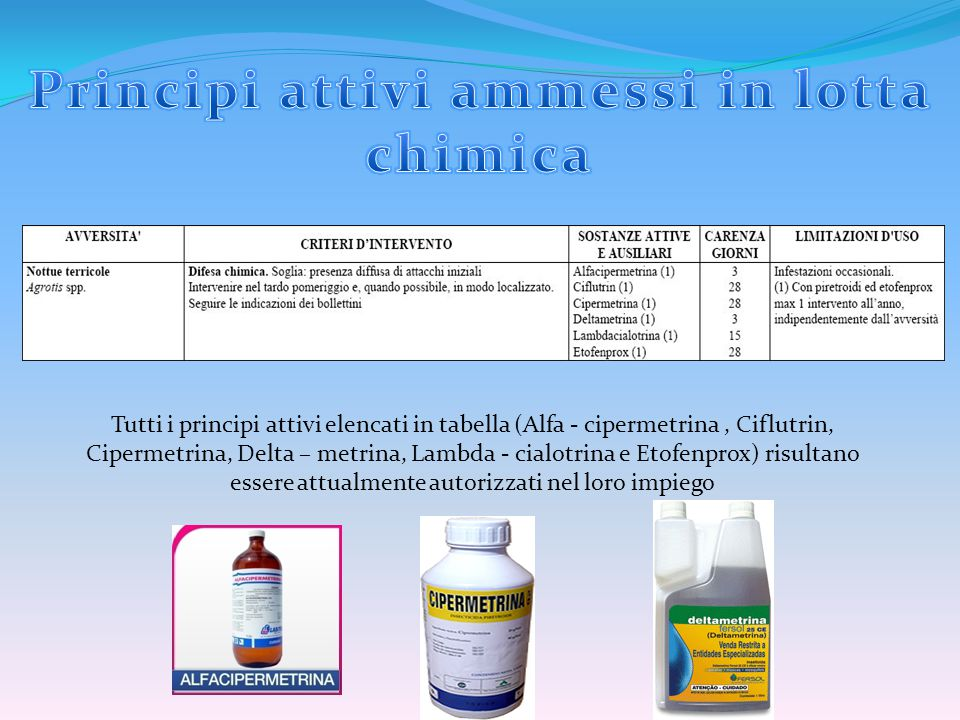 Principi attivi ammessi in lotta chimica