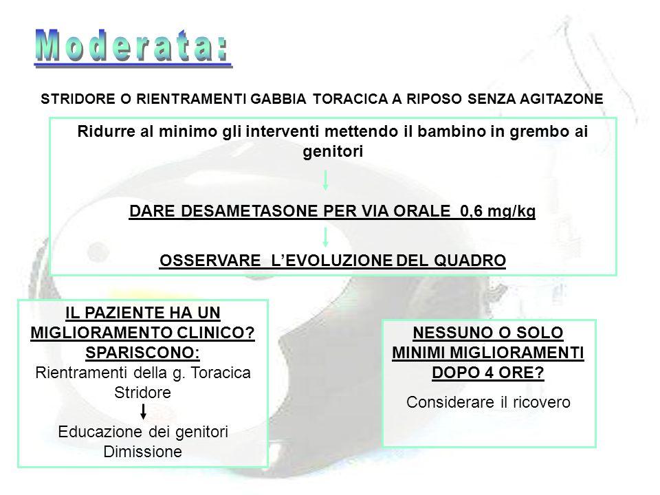 Moderata: STRIDORE O RIENTRAMENTI GABBIA TORACICA A RIPOSO SENZA AGITAZONE.