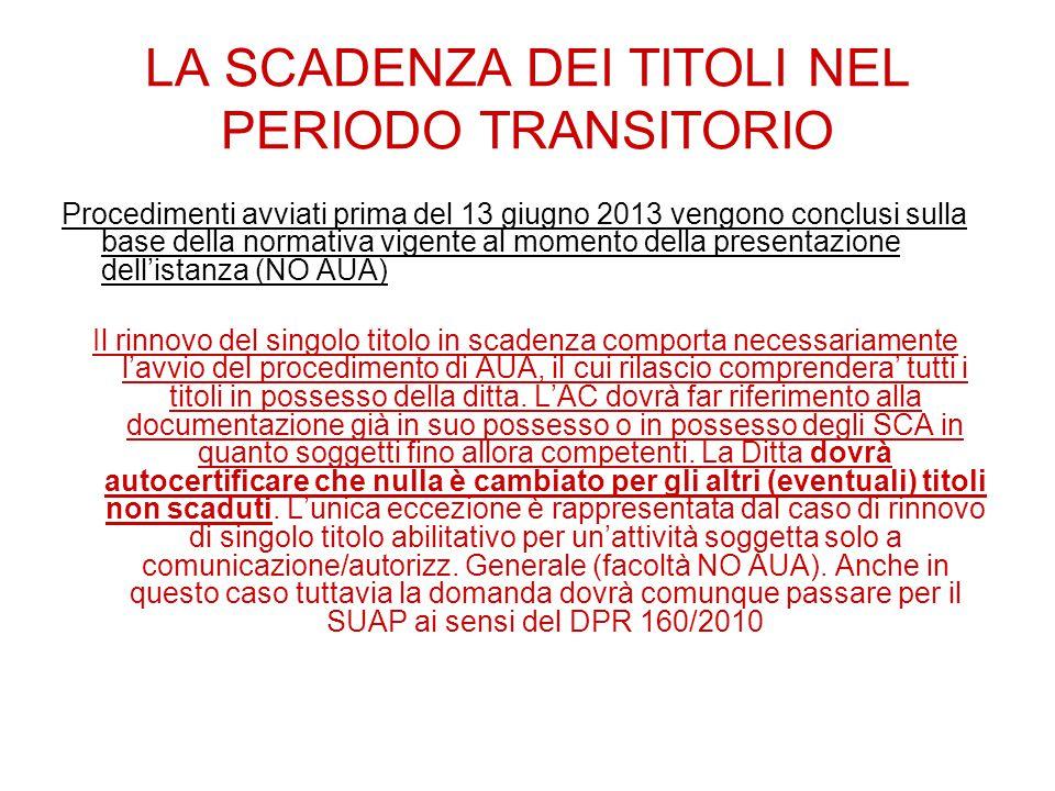 LA SCADENZA DEI TITOLI NEL PERIODO TRANSITORIO