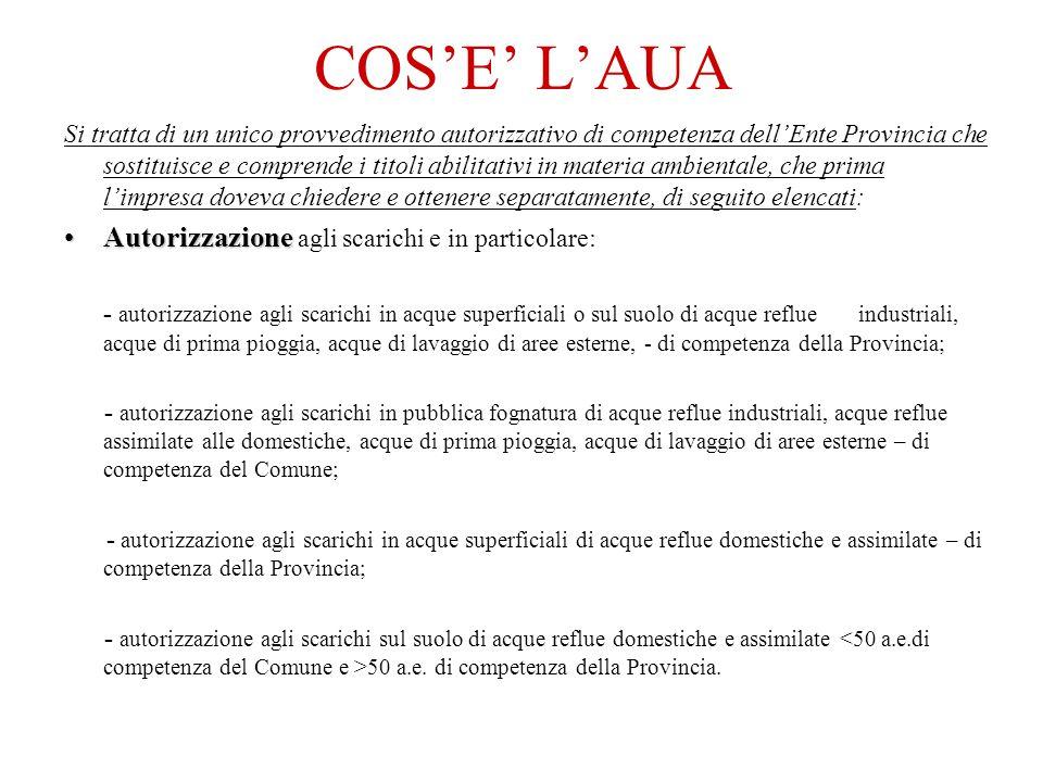 COS'E' L'AUA Autorizzazione agli scarichi e in particolare: