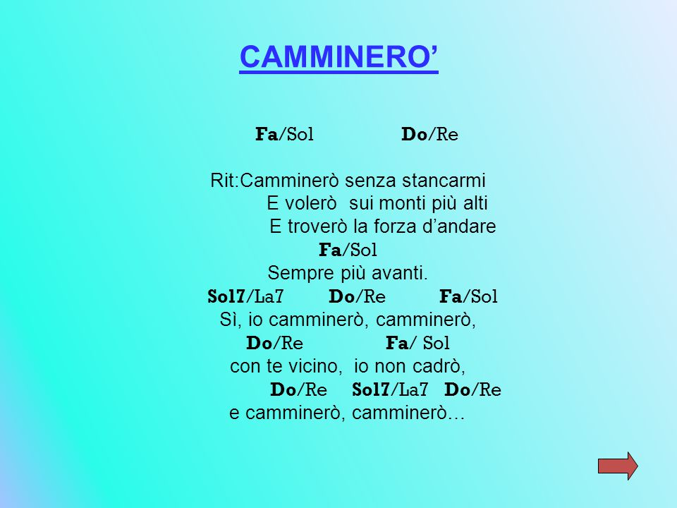 CAMMINERO' Fa/Sol Do/Re Rit:Camminerò senza stancarmi