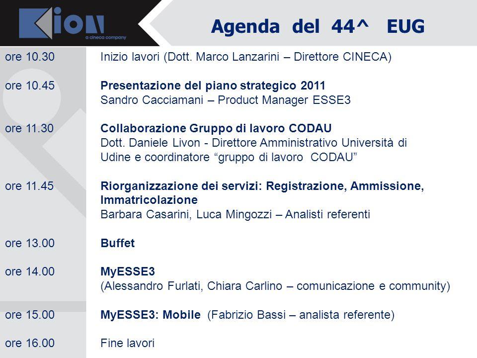 Agenda del 44^ EUG ore 10.30 Inizio lavori (Dott. Marco Lanzarini – Direttore CINECA) ore 10.45 Presentazione del piano strategico 2011.