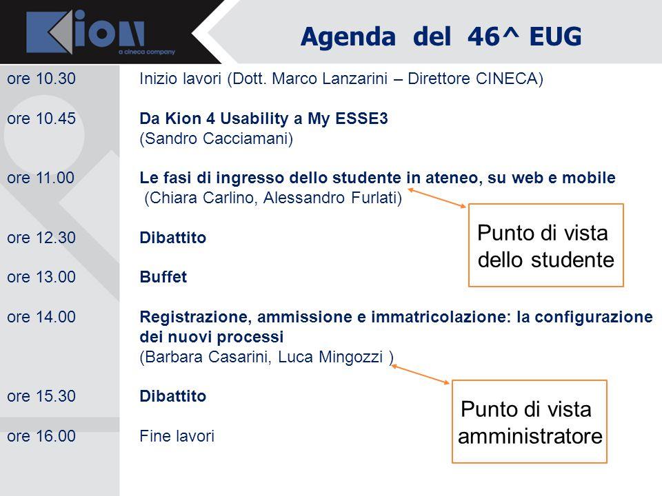 Agenda del 46^ EUG Punto di vista dello studente amministratore