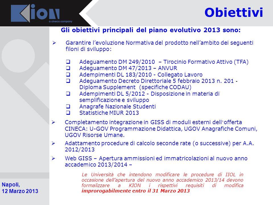 Obiettivi Gli obiettivi principali del piano evolutivo 2013 sono: