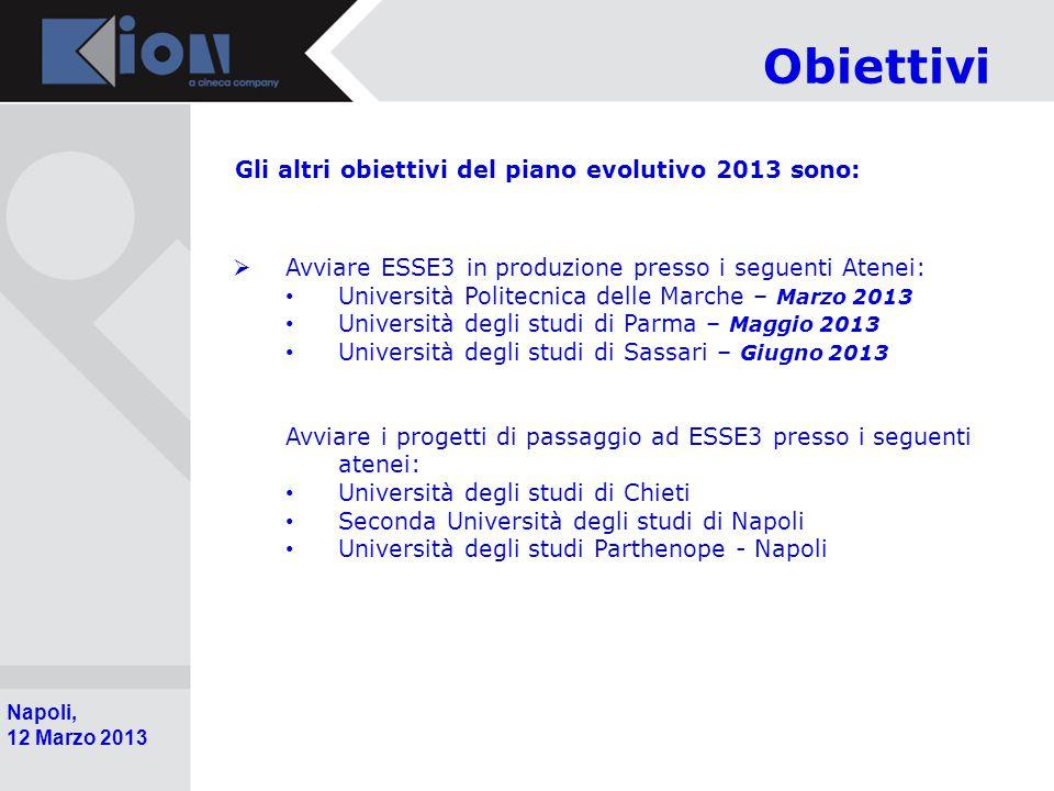 Obiettivi Gli altri obiettivi del piano evolutivo 2013 sono: