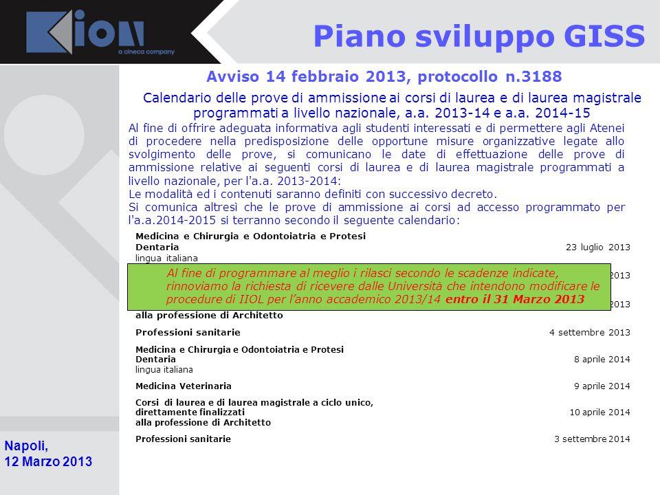 Avviso 14 febbraio 2013, protocollo n.3188
