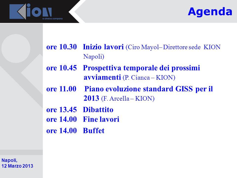 Agenda ore 10.30 Inizio lavori (Ciro Mayol– Direttore sede KION Napoli)