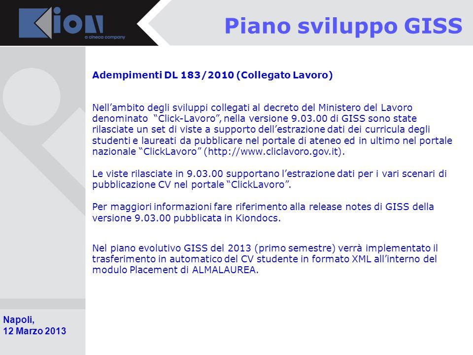 Piano sviluppo GISS Adempimenti DL 183/2010 (Collegato Lavoro)