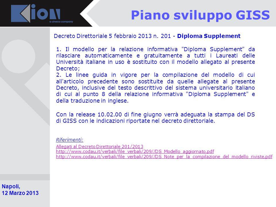 Piano sviluppo GISS Decreto Direttoriale 5 febbraio 2013 n. 201 - Diploma Supplement.