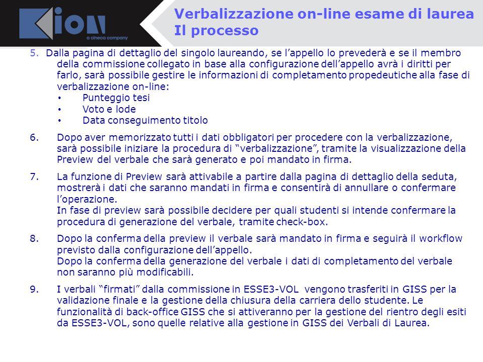 Verbalizzazione on-line esame di laurea Il processo