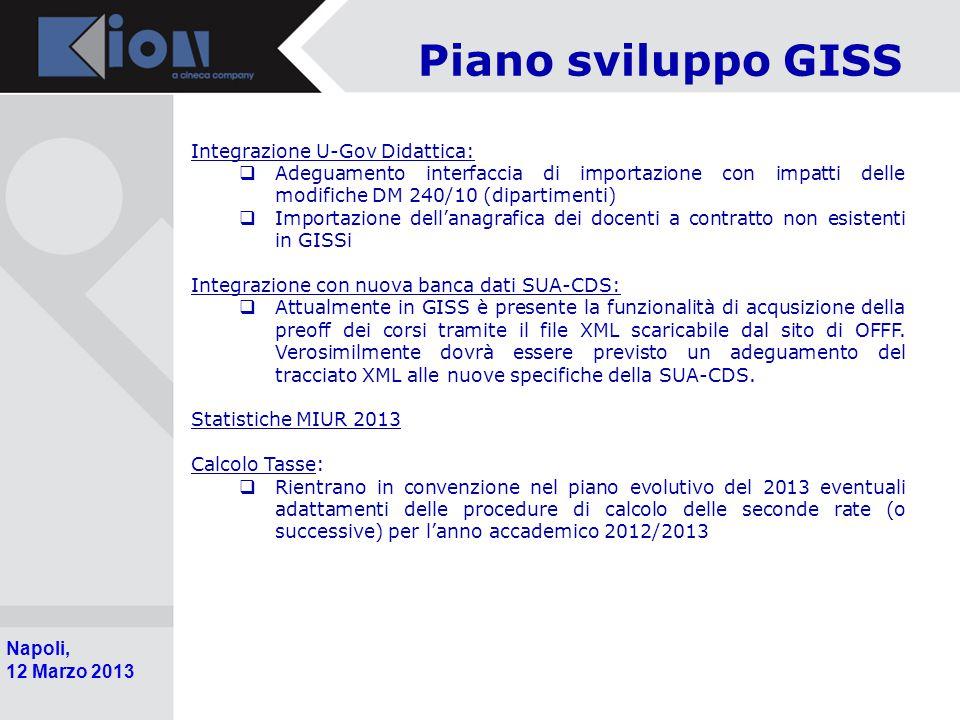 Piano sviluppo GISS Integrazione U-Gov Didattica:
