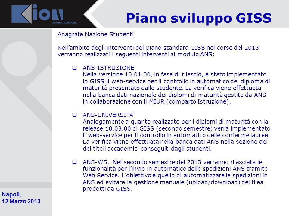 Piano sviluppo GISS Anagrafe Nazione Studenti