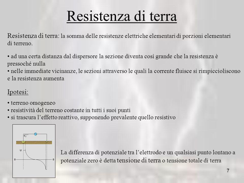 Resistenza di terra Resistenza di terra: la somma delle resistenze elettriche elementari di porzioni elementari.