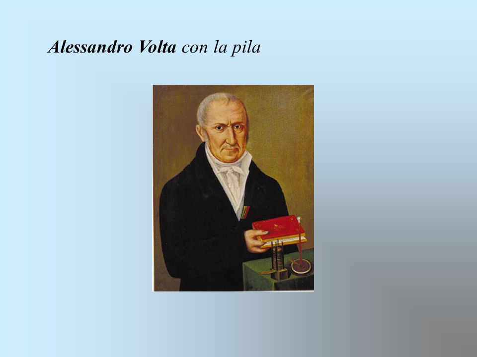 Alessandro Volta con la pila