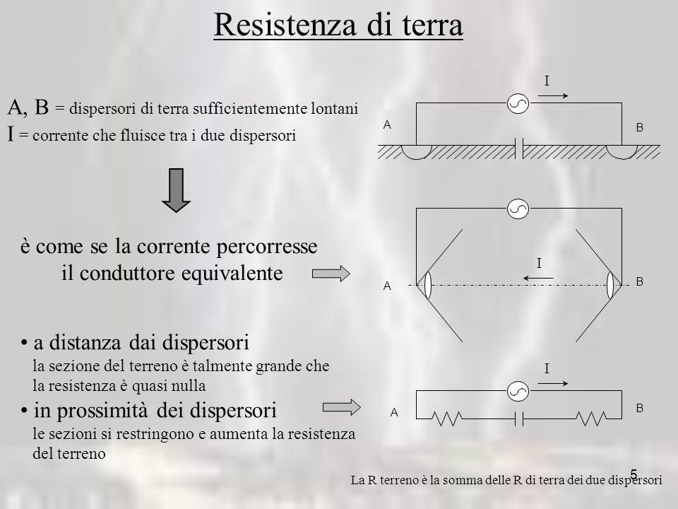 Resistenza di terra I. A. B. A, B = dispersori di terra sufficientemente lontani. I = corrente che fluisce tra i due dispersori.