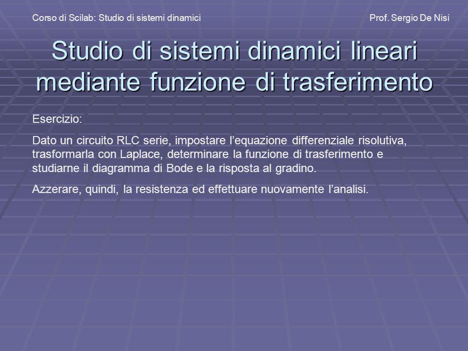 Studio di sistemi dinamici lineari mediante funzione di trasferimento