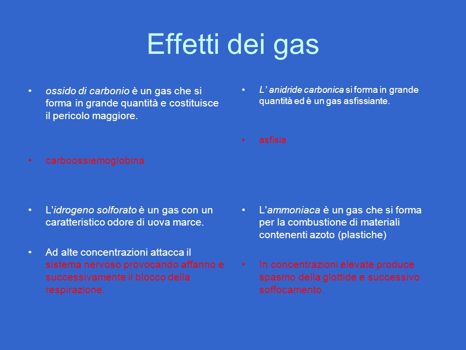 Effetti dei gas ossido di carbonio è un gas che si forma in grande quantità e costituisce il pericolo maggiore.