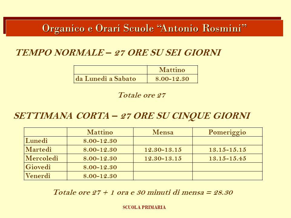 Organico e Orari Scuole Antonio Rosmini
