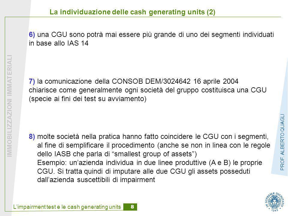 La individuazione delle cash generating units (2)