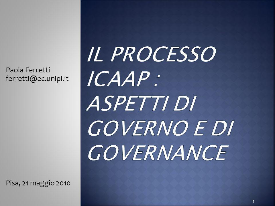 Il processo ICAAP : aspetti di governo e di governance