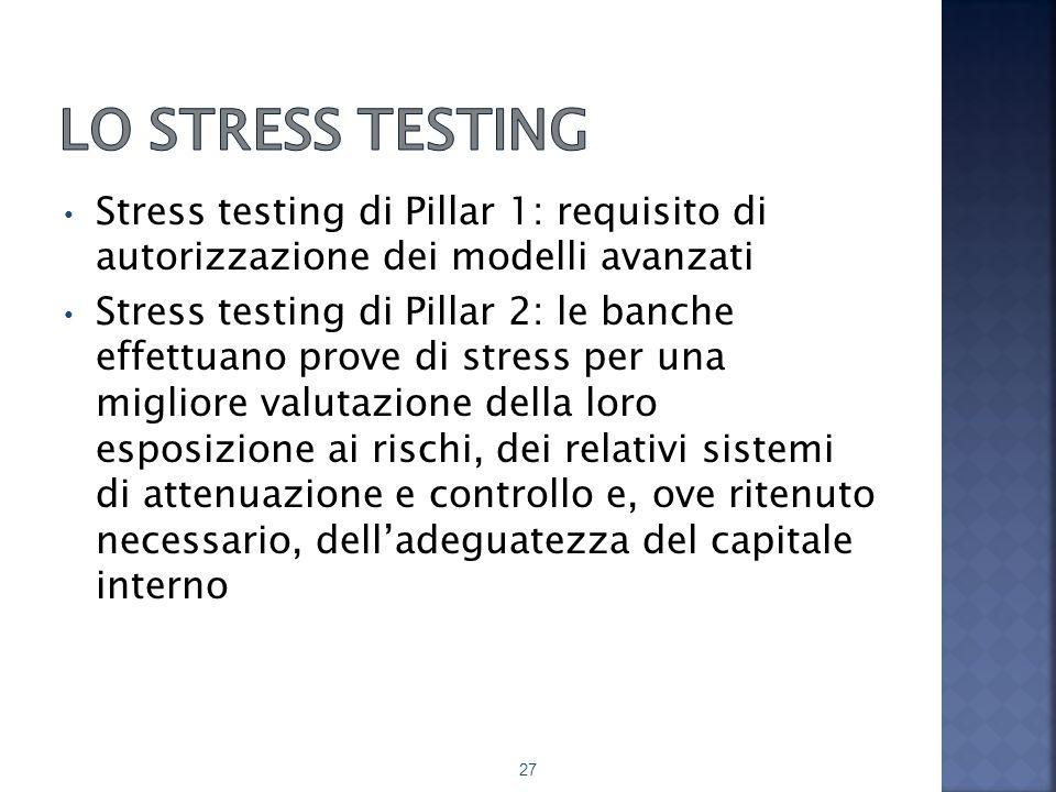 Lo stress testing Stress testing di Pillar 1: requisito di autorizzazione dei modelli avanzati.