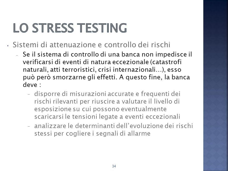 Lo stress testing Sistemi di attenuazione e controllo dei rischi