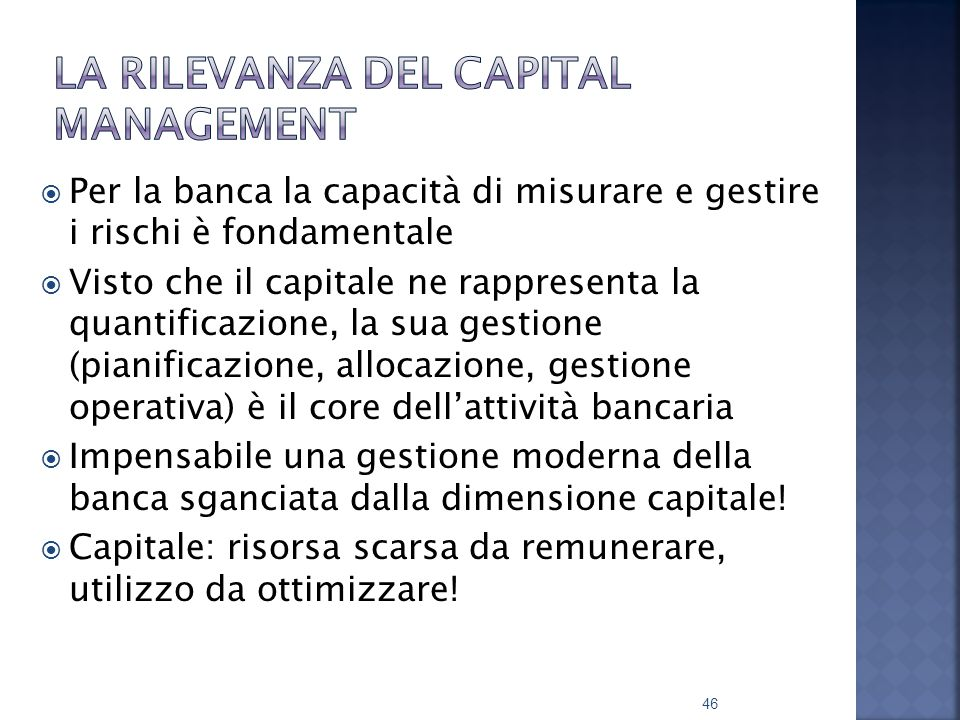 La rilevanza del capital management