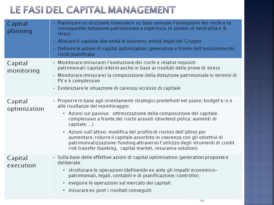Le fasi del capital management