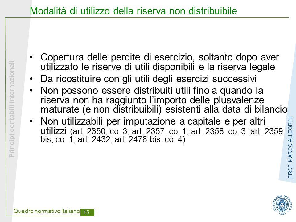 Modalità di utilizzo della riserva non distribuibile