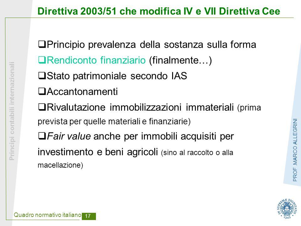 Direttiva 2003/51 che modifica IV e VII Direttiva Cee