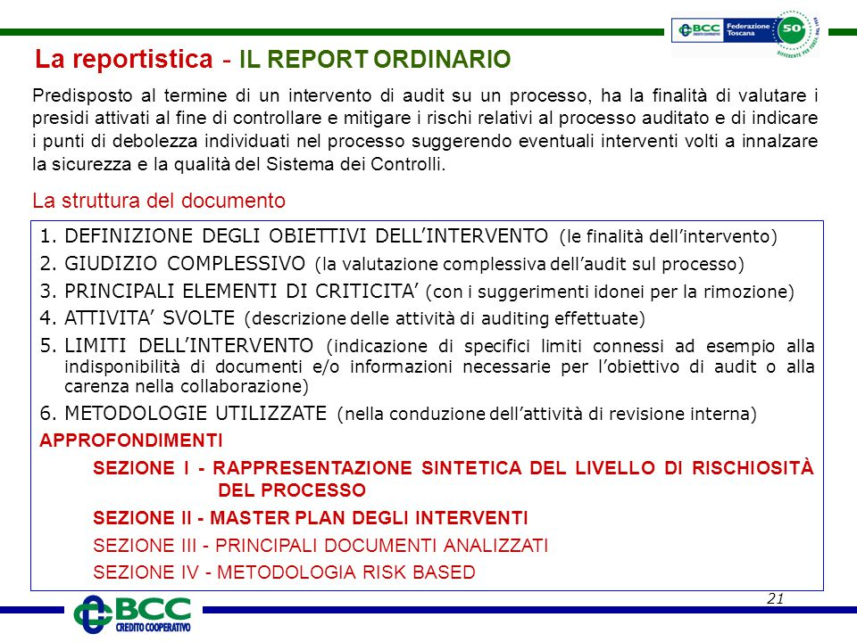 La reportistica - IL REPORT ORDINARIO