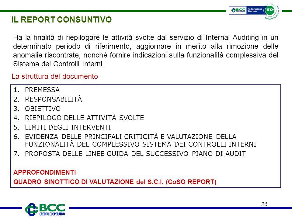 IL REPORT CONSUNTIVO