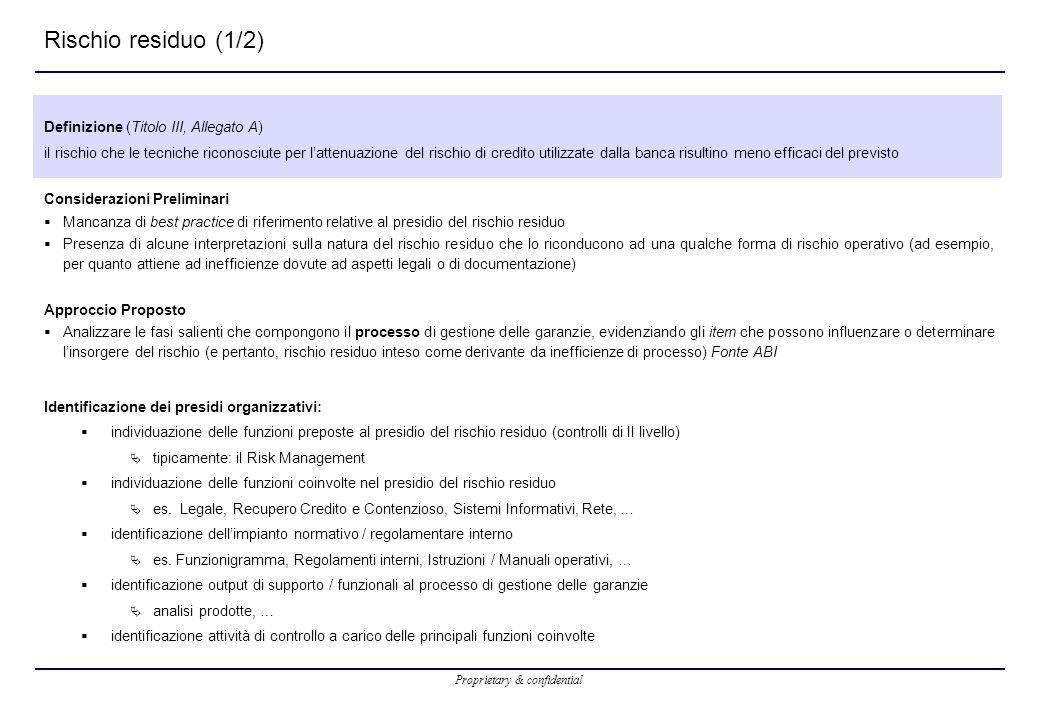 Rischio residuo (1/2) Definizione (Titolo III, Allegato A)