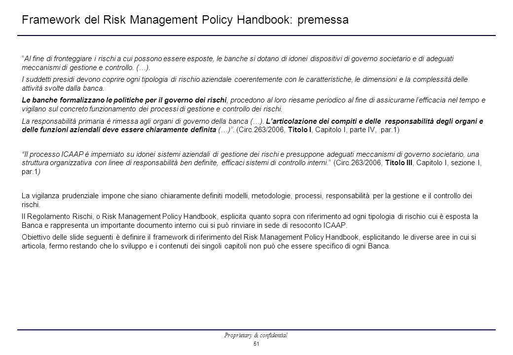 Framework del Risk Management Policy Handbook: premessa