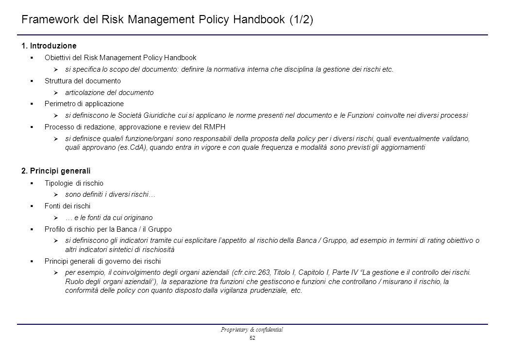 Framework del Risk Management Policy Handbook (1/2)