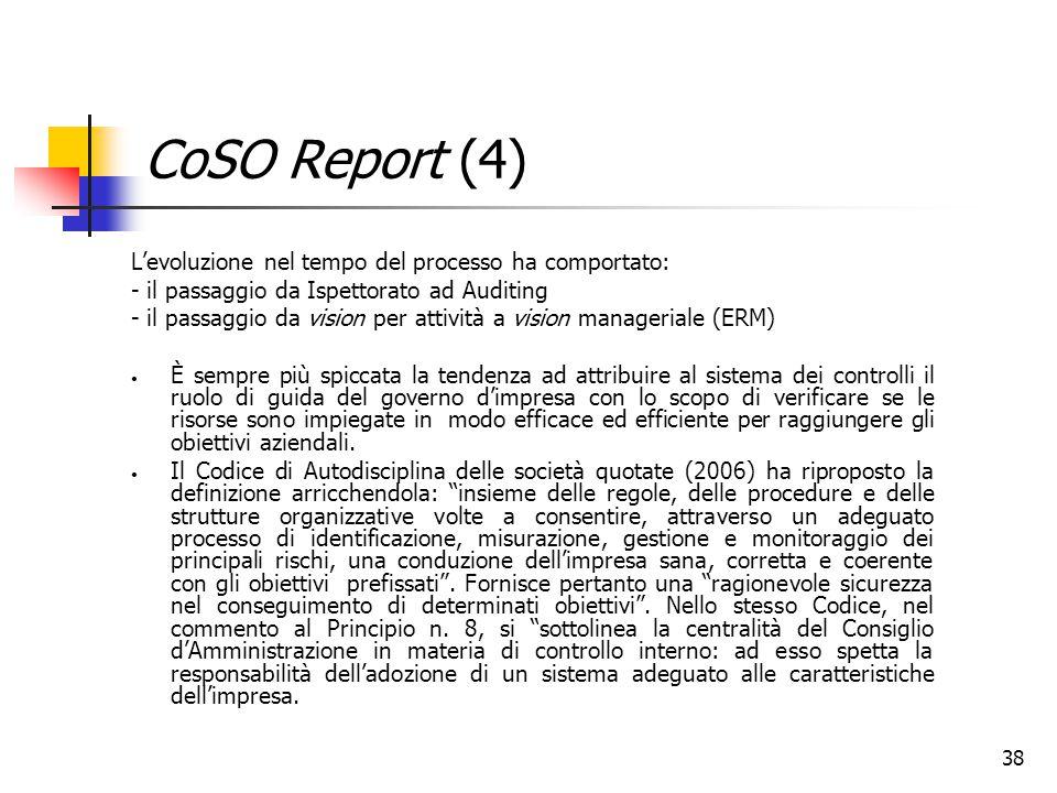 CoSO Report (4) L'evoluzione nel tempo del processo ha comportato: