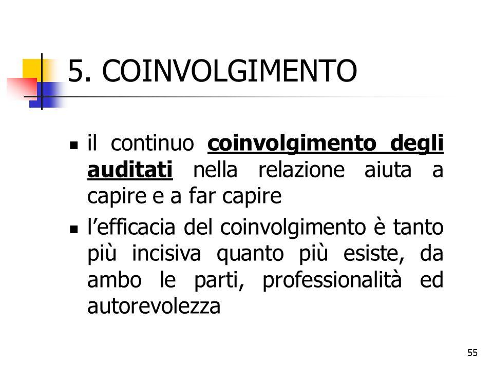 5. COINVOLGIMENTO il continuo coinvolgimento degli auditati nella relazione aiuta a capire e a far capire.