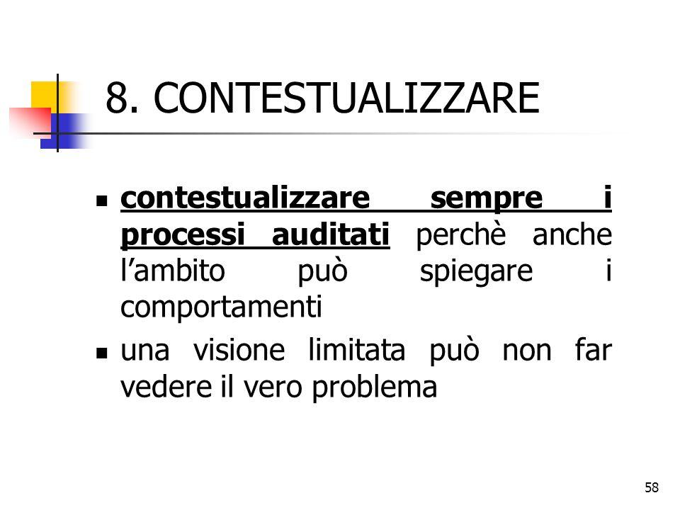 8. CONTESTUALIZZARE contestualizzare sempre i processi auditati perchè anche l'ambito può spiegare i comportamenti.