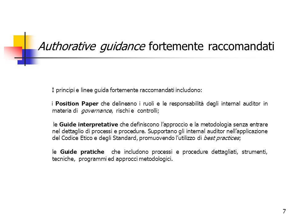 Authorative guidance fortemente raccomandati