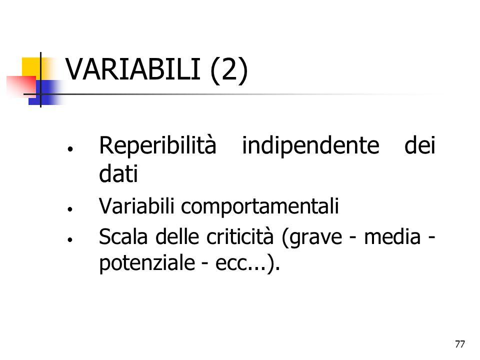 VARIABILI (2) Reperibilità indipendente dei dati