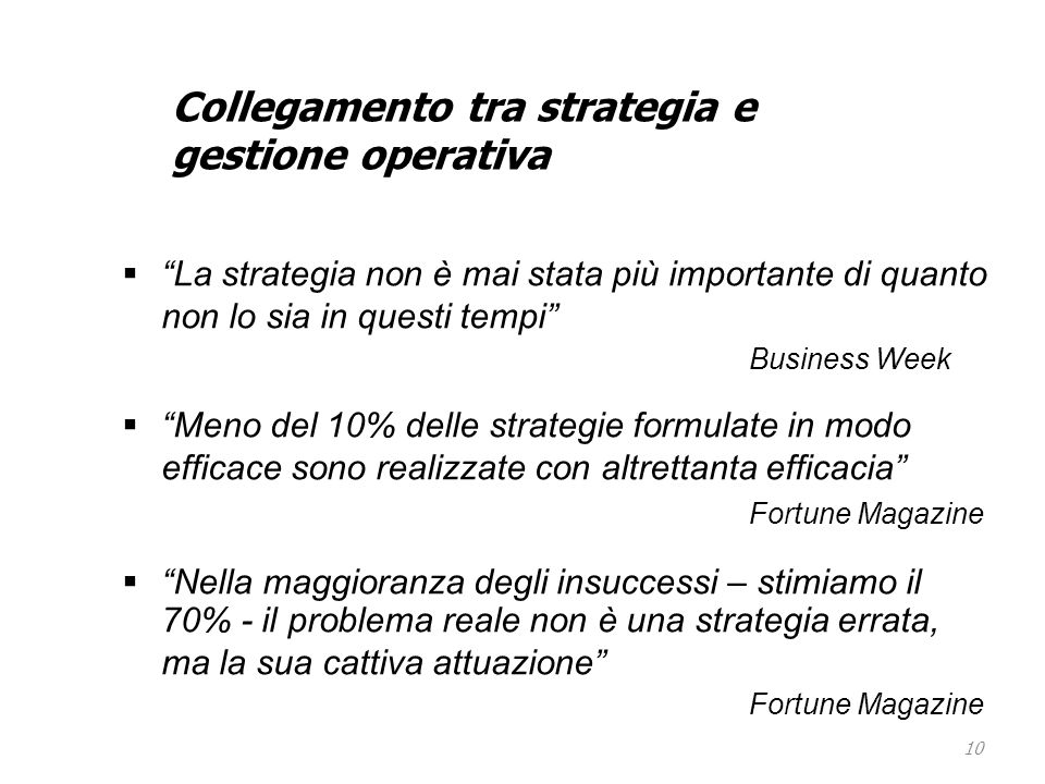 Collegamento tra strategia e gestione operativa