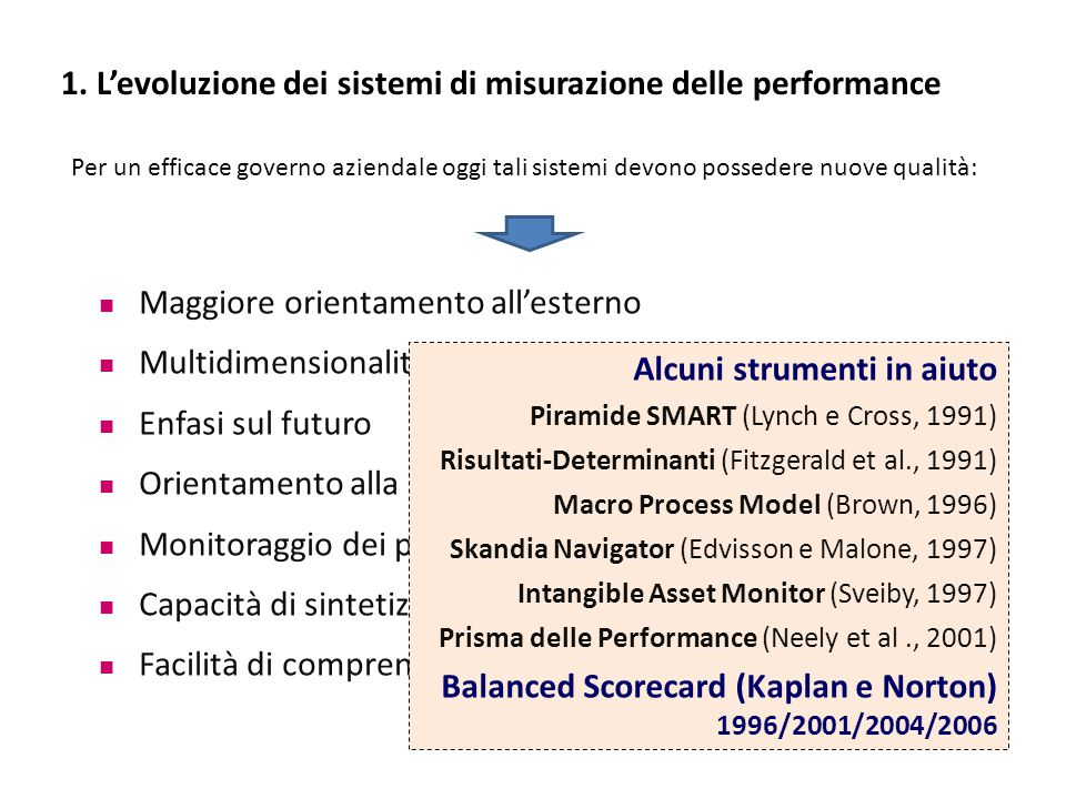 1. L'evoluzione dei sistemi di misurazione delle performance