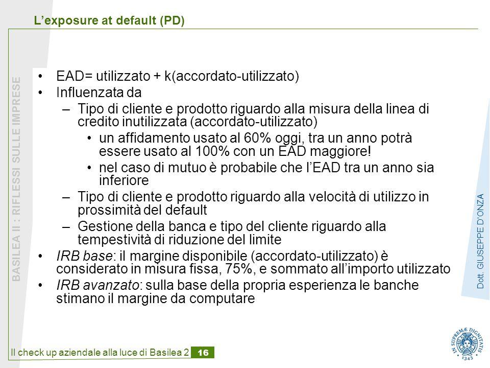 EAD= utilizzato + k(accordato-utilizzato) Influenzata da