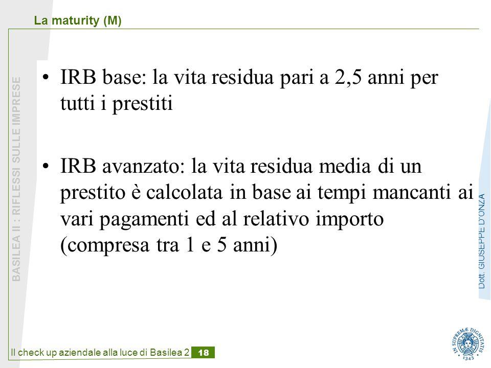 IRB base: la vita residua pari a 2,5 anni per tutti i prestiti