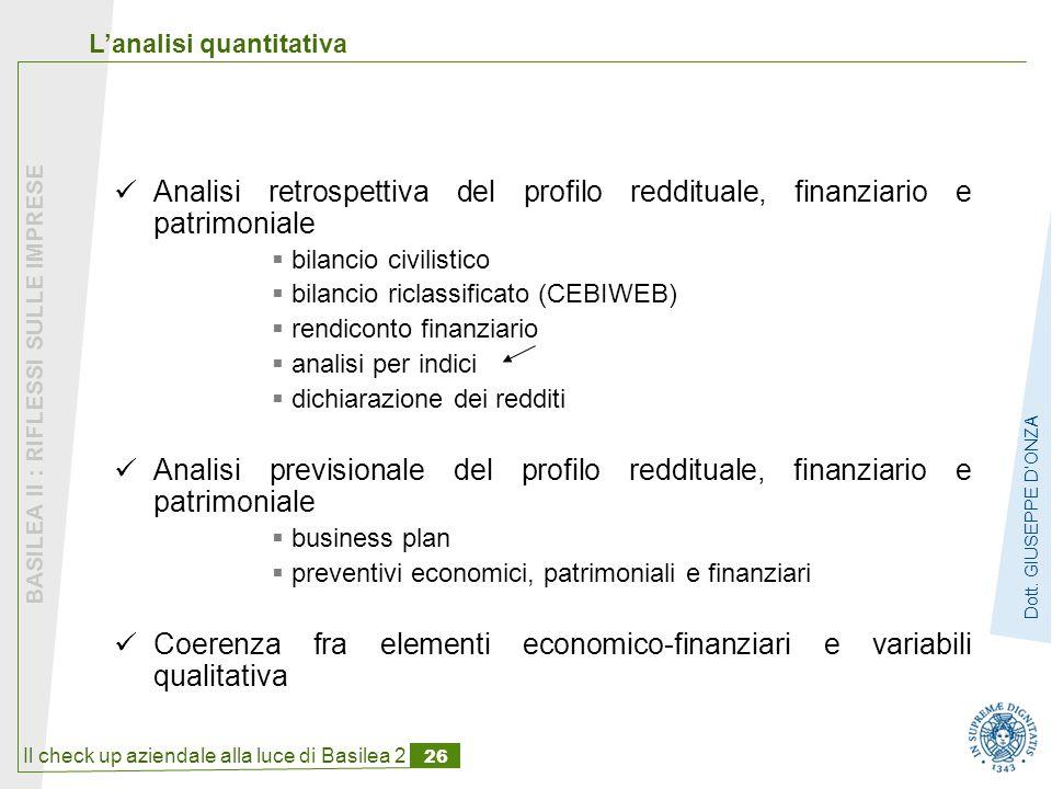 Coerenza fra elementi economico-finanziari e variabili qualitativa