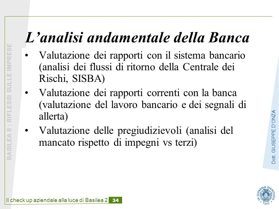 L'analisi andamentale della Banca