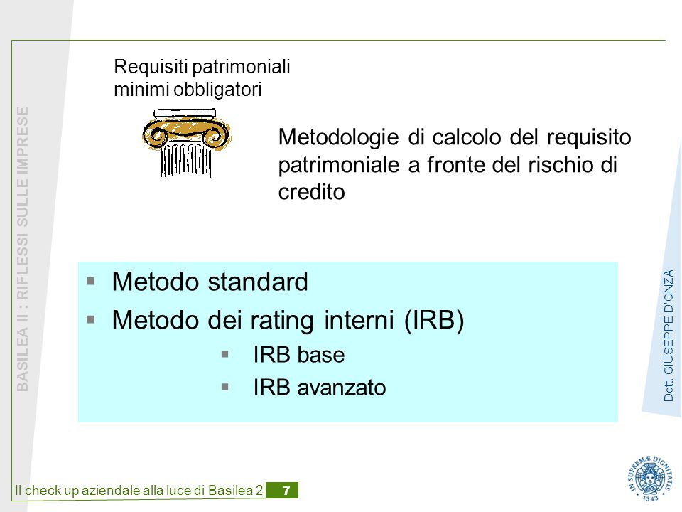 Metodo standard Metodo dei rating interni (IRB) IRB base IRB avanzato