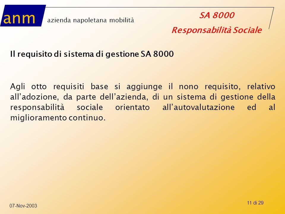 Il requisito di sistema di gestione SA 8000