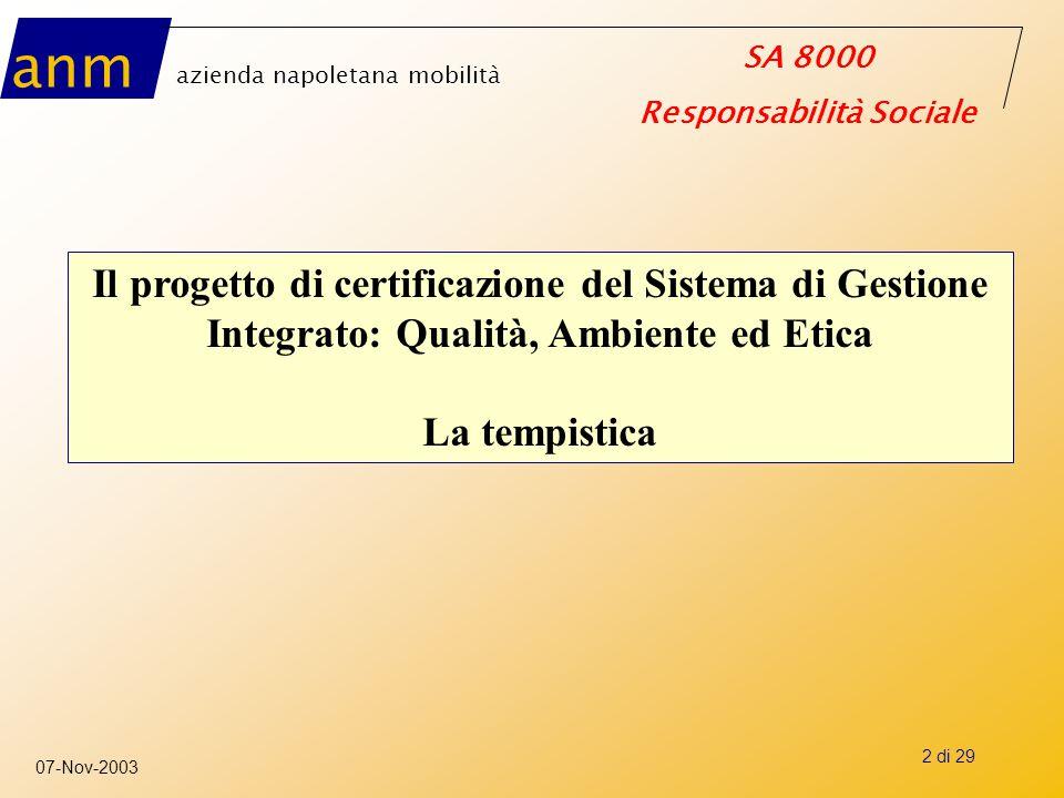 Il progetto di certificazione del Sistema di Gestione Integrato: Qualità, Ambiente ed Etica